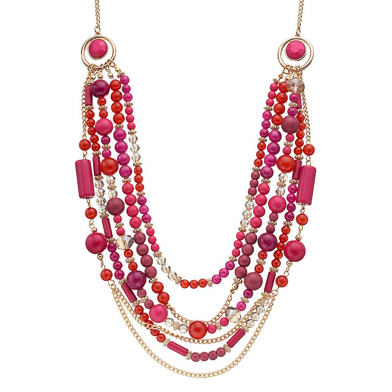 Pink Beaded Swag Necklace