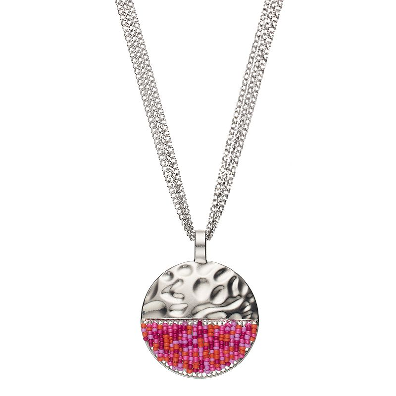 Pink Seed Bead Hammered Circle Pendant Necklace
