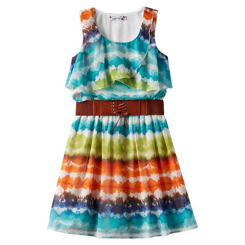 Girls 7-16 Speechless Layered Belted Tie-Dyed Dress