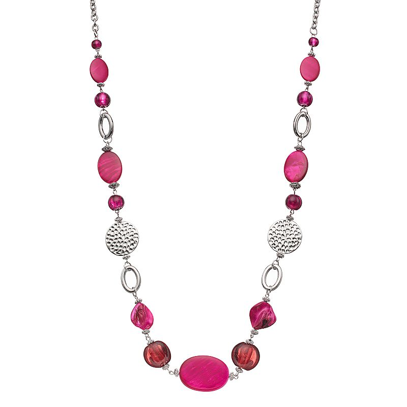 Long Pink Beaded Composite Shell Disc Necklace