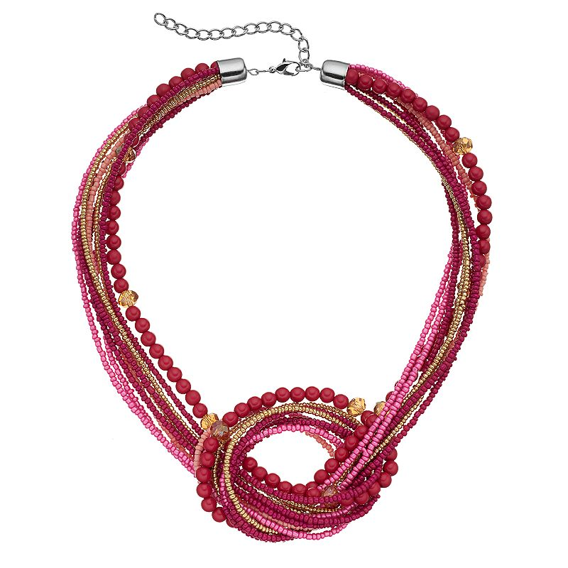 Pink Seed Bead Knot Chunky Necklace