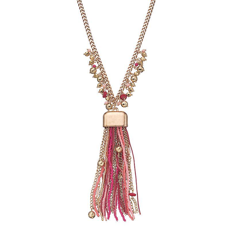 Pink Beaded Tassel Y Necklace