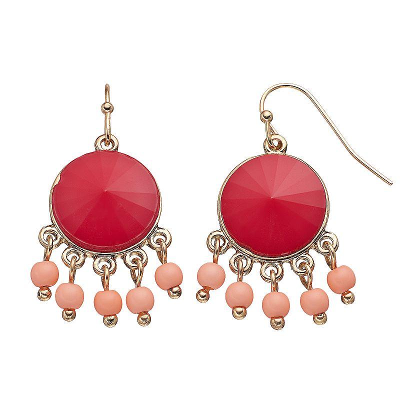 Pink Beaded Chandelier Earrings
