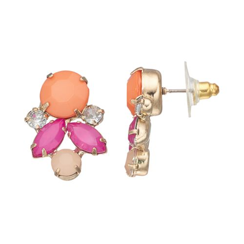 Marquise & Circle Cluster Drop Earrings