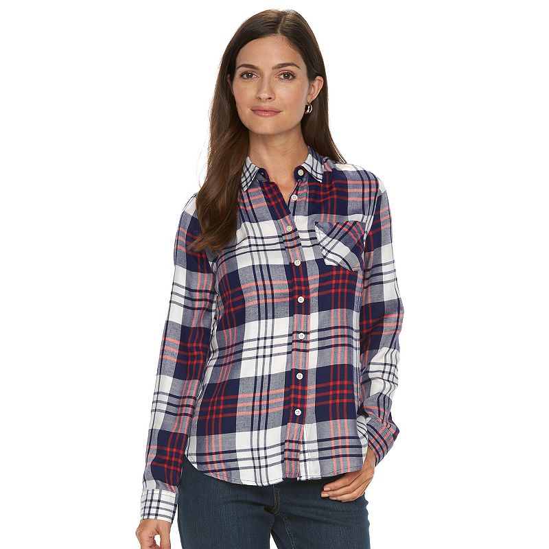 Women's Croft & Barrow® Plaid Flannel Shirt