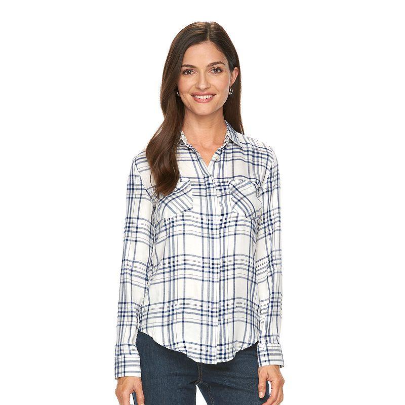 Women's Croft & Barrow® Plaid High-Low Flannel Shirt
