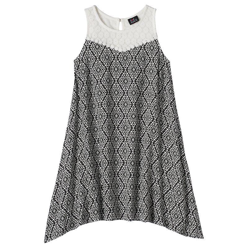 Girls 7-16 lilt Crochet Yoke Shift Dress