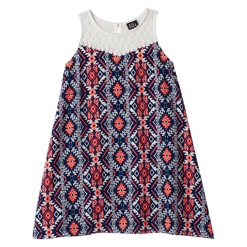 Girls 7-16 lilt Crochet Yoke Shift Dress