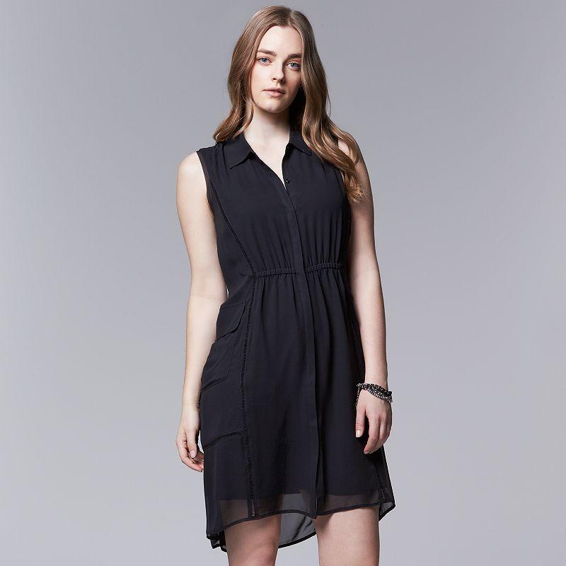 Plus Size Simply Vera Vera Wang Chiffon High-Low Shirtdress