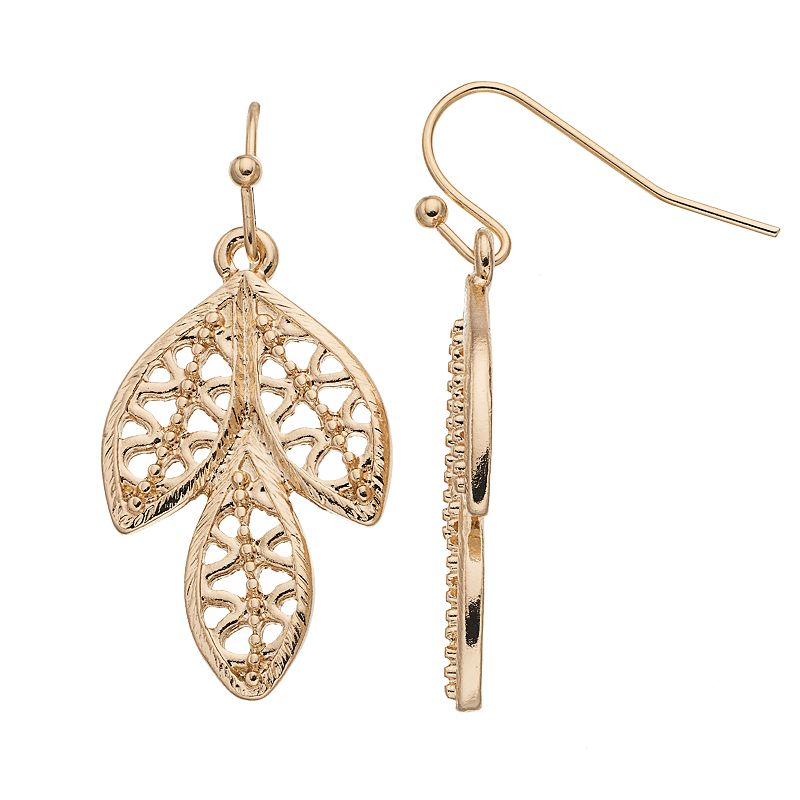 LC Lauren Conrad Openwork Leaf Drop Earrings
