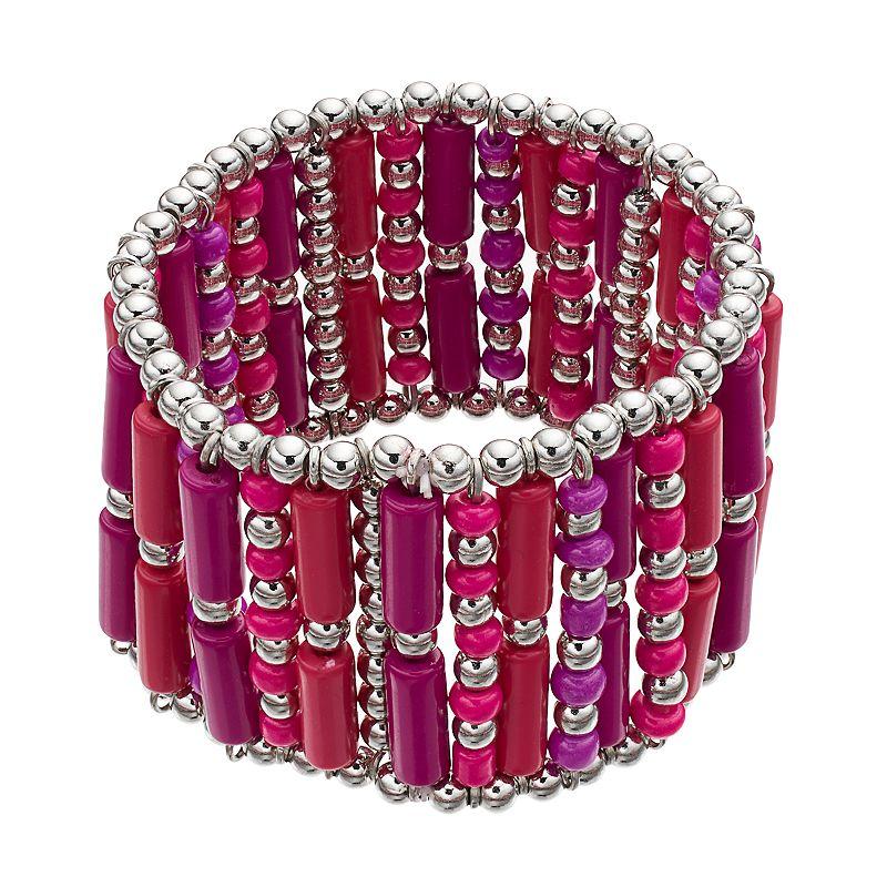 Pink & Purple Beaded Stretch Bracelet