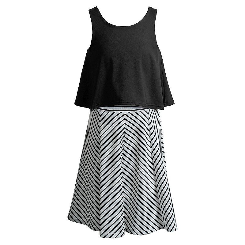 Girls 7-16 Emily West Striped Mock-Layer Dress