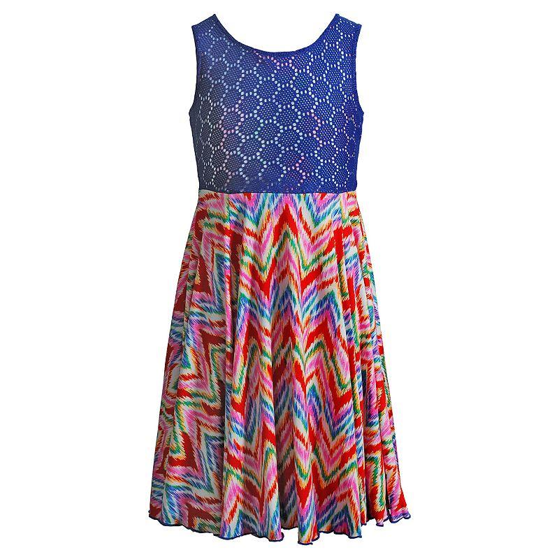 Girls 7-16 Emily West Chevron Flip & Twirl Reversible Dress