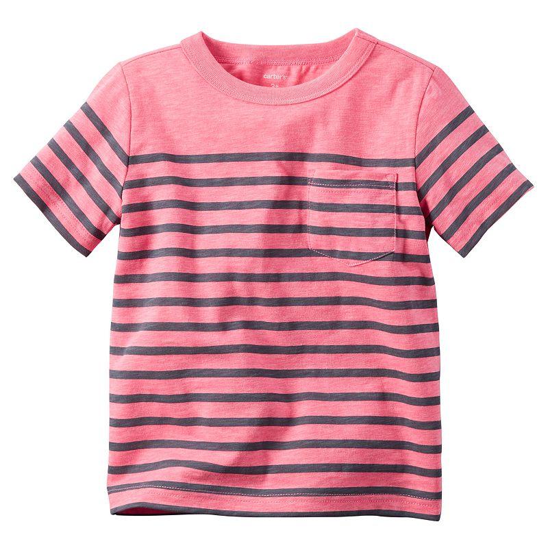 Boys 4-8 Carter's Striped Neon Pocket Tee