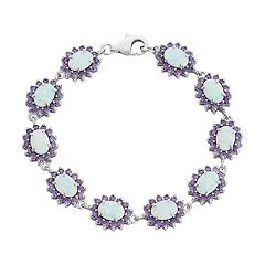 Sterling Silver Lab-Created White Opal & Cubic Zirconia Halo Bracelet by