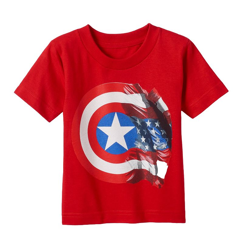 Toddler Boy Marvel Captain America 75th Flag Shield Tee