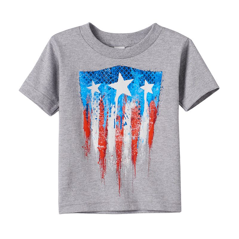 Toddler Boy Marvel Captain America 75th Abstract Flag Shield Tee