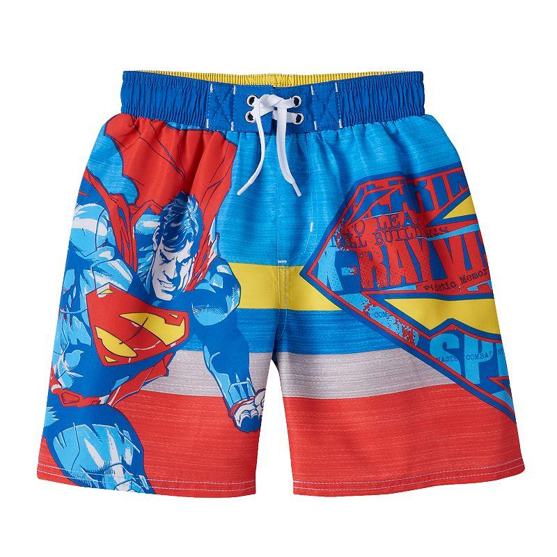 Boys 4-7 DC Comics Superman Striped Swim Trunks