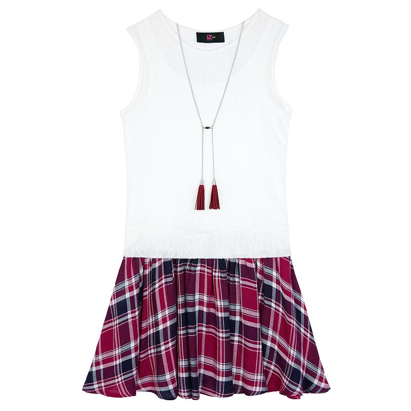 Girls 7-16 IZ Amy Byer Plaid Skirt Mock-Layer Dress