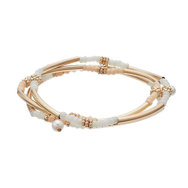 LC Lauren Conrad Beaded Curved Bar Stretch Bracelet Set