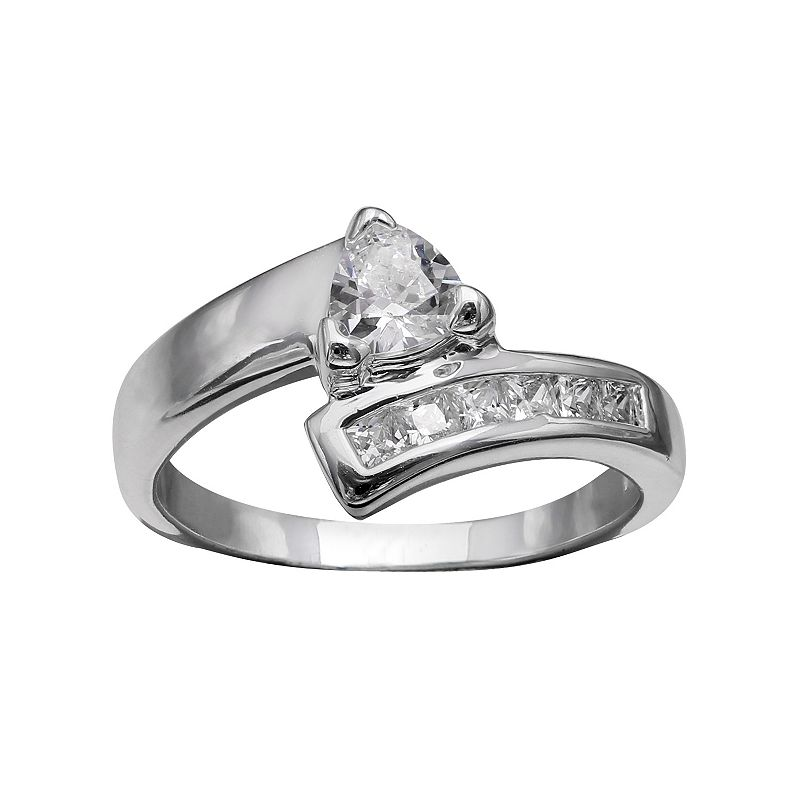 PRIMROSE Sterling Silver Cubic Zirconia Bypass Ring