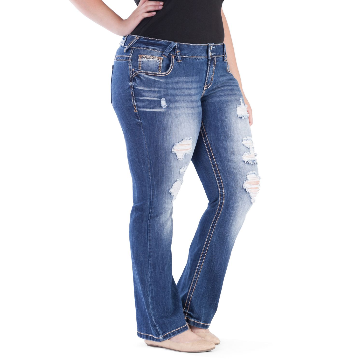 Juniors Plus Size Amethyst Faded Ripped Trumpet Jeans