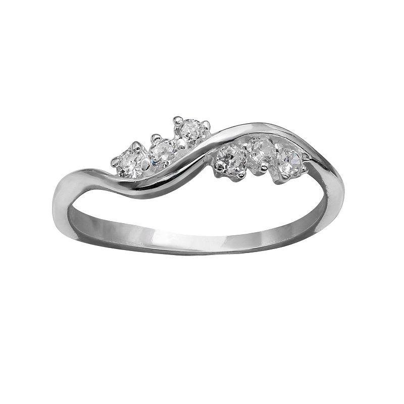 PRIMROSE Sterling Silver Cubic Zirconia Wave Ring