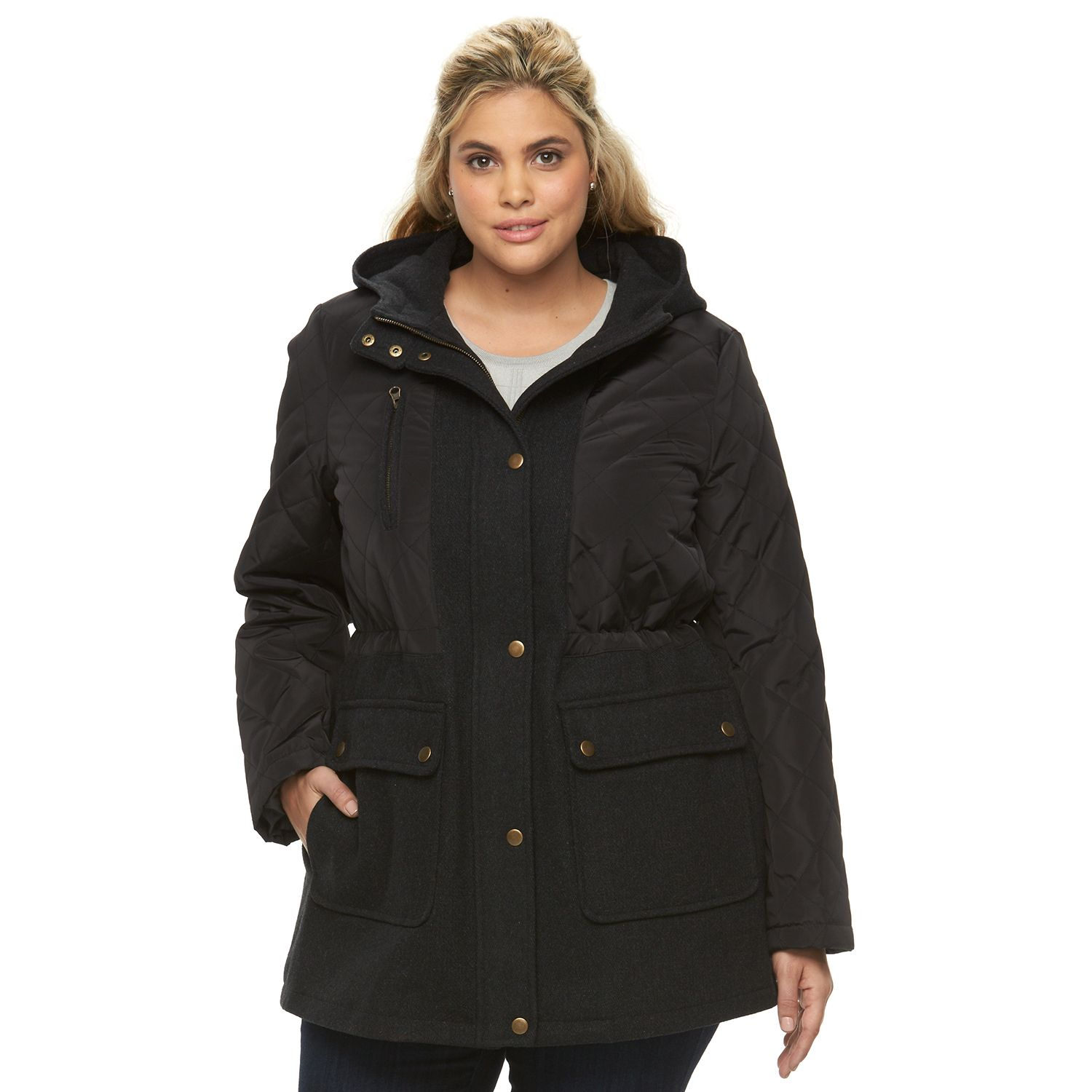 Plus Size Apt. 9? Hooded Quilted Wool Blend Anorak Jacket