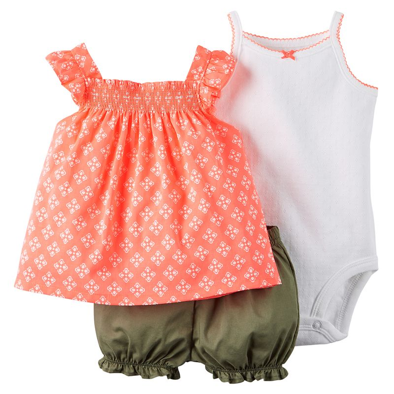 Baby Girl Carter's Smocked Tank, Bodysuit & Bubble Shorts Set