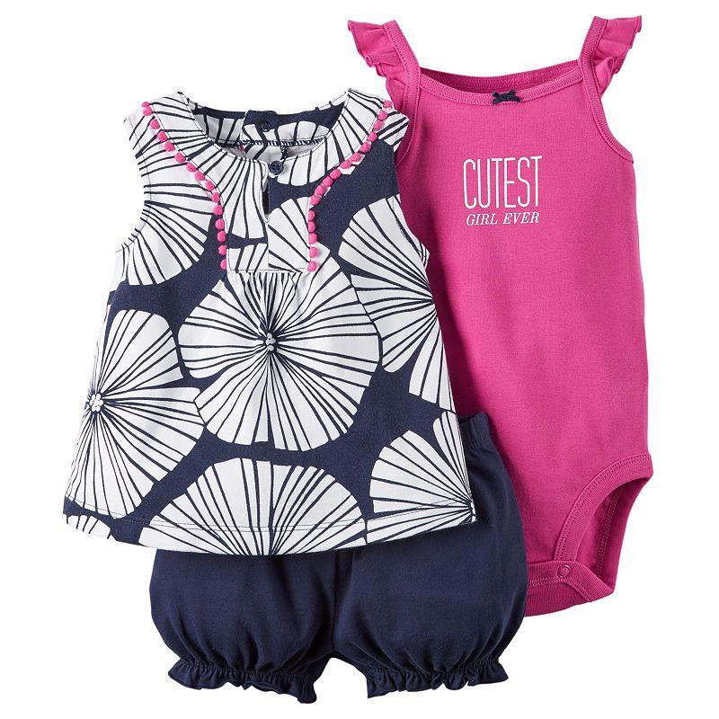Baby Girl Carter's Print Tank, Bodysuit & Bubble Shorts Set