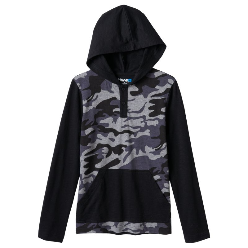 Boys 8-20 Tony Hawk Camouflage Hooded Tee, Boy's, Size: Large, Black