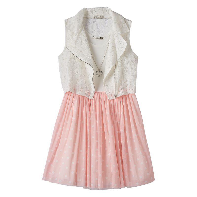 Girls 7-16 & Plus Size Knitworks Dress, Crochet Moto Vest & Necklace