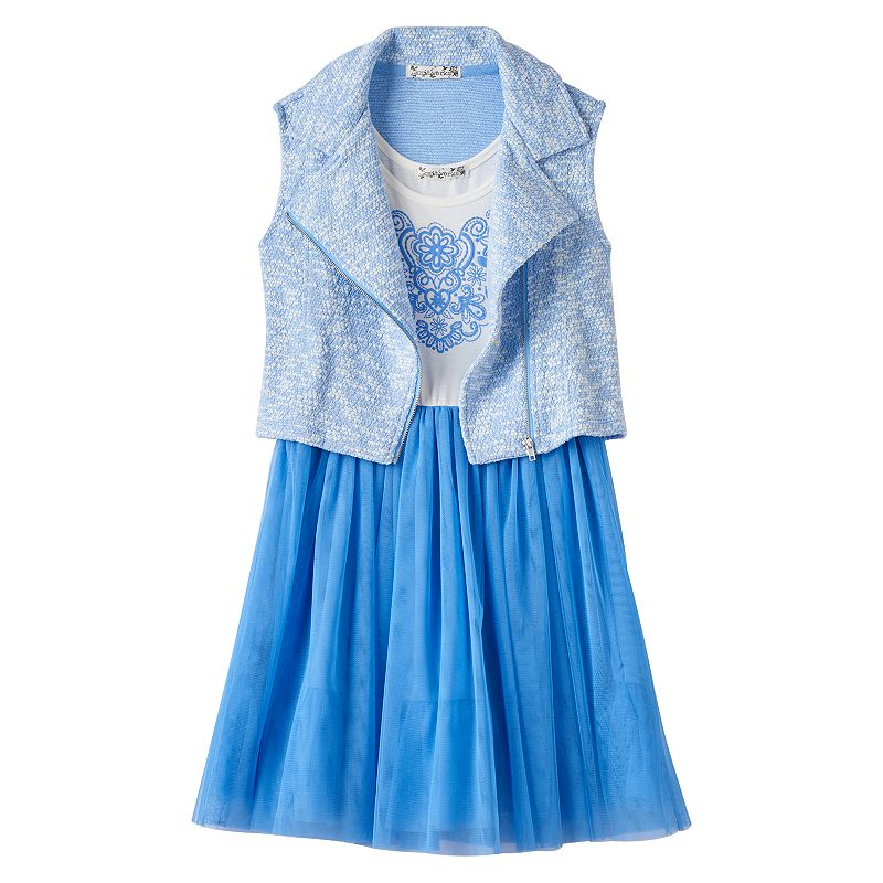 Girls 7-16 & Plus Size Knitworks Dress & Moto Vest