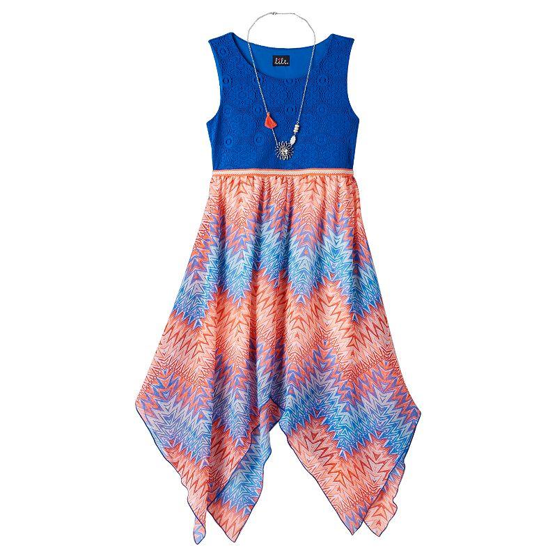 Girls 7-16 lilt Mixed Media Maxi Dress & Necklace