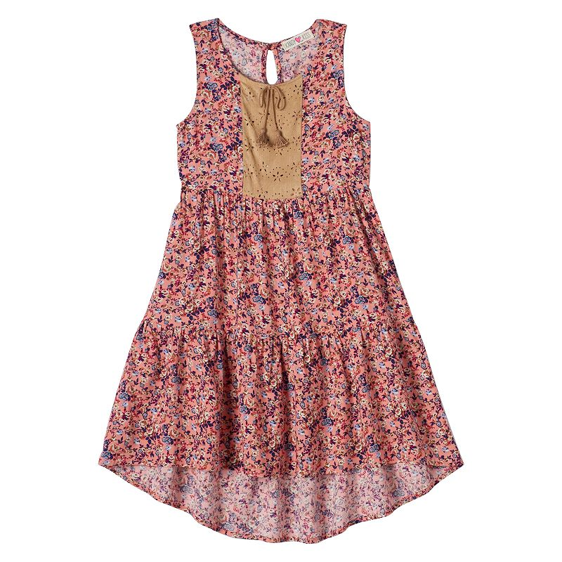Girls 7-16 Kandy Kiss Floral Challis High-Low Dress & Necklace
