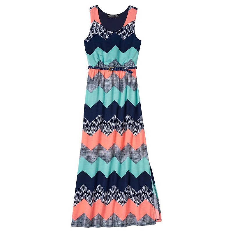 Girls 7-16 Three Pink Hearts Cameo Maxi Dress