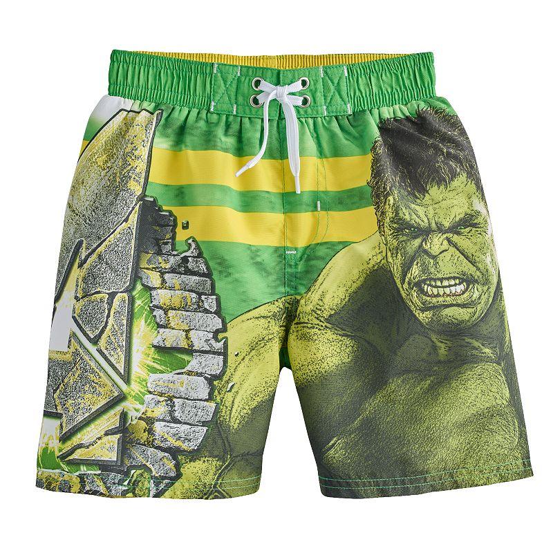 Boys 4-7 Marvel Avengers Hulk Striped Swim Trunks