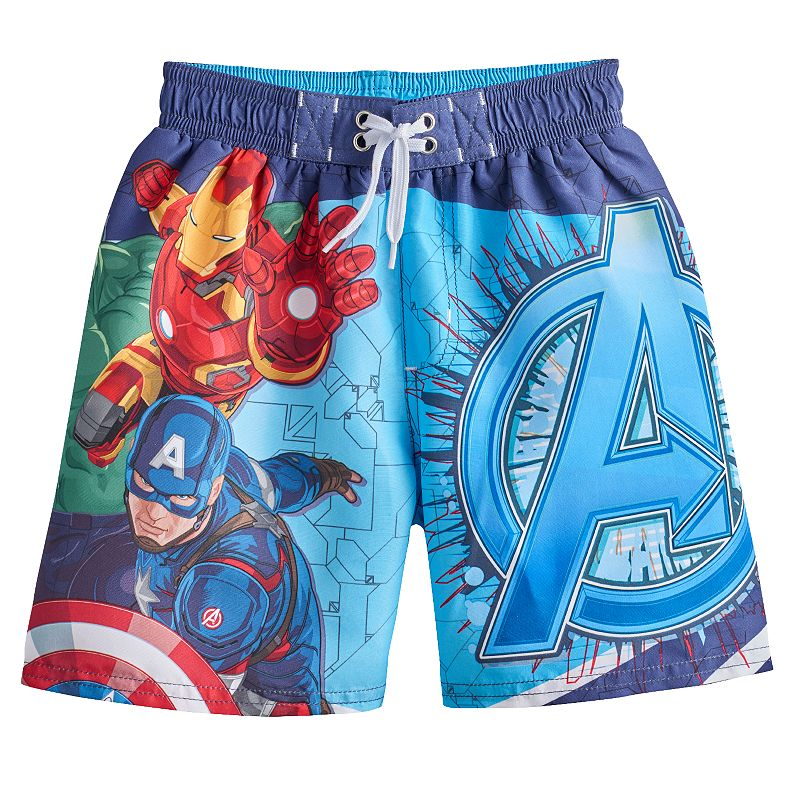 Boys 4-7 Marvel Avengers Iron Man, Hulk & Captain America Swim Trunks