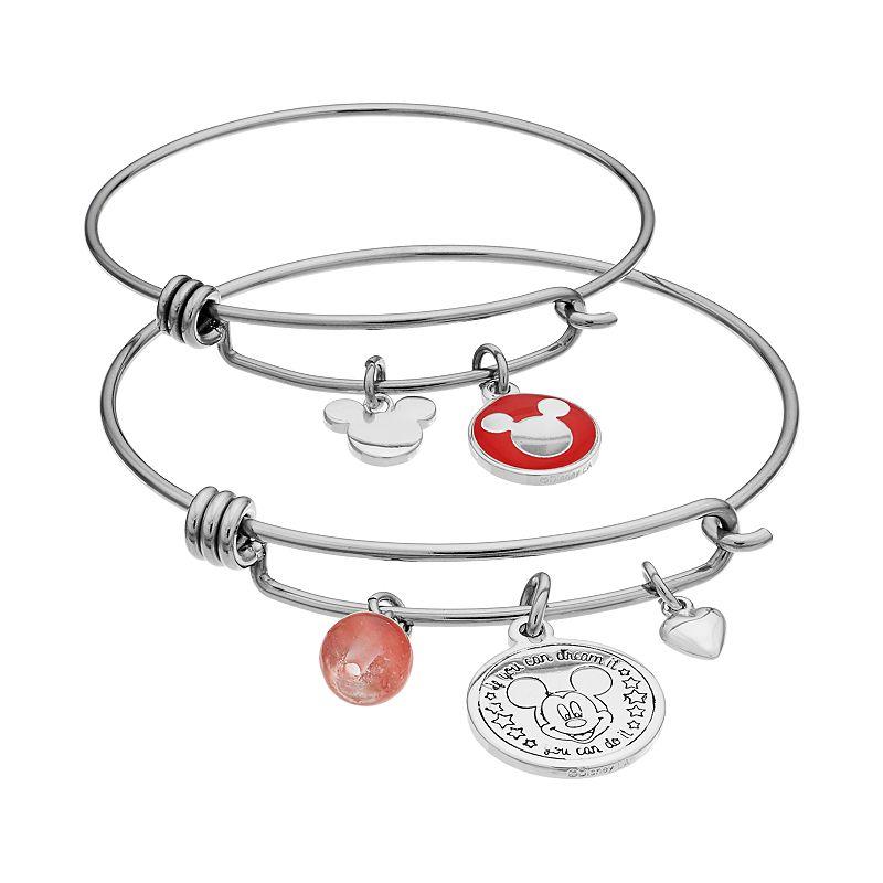 Disney's Mickey Mouse Cherry Quartz Mother & Daughter Charm Bangle Bracelet Set