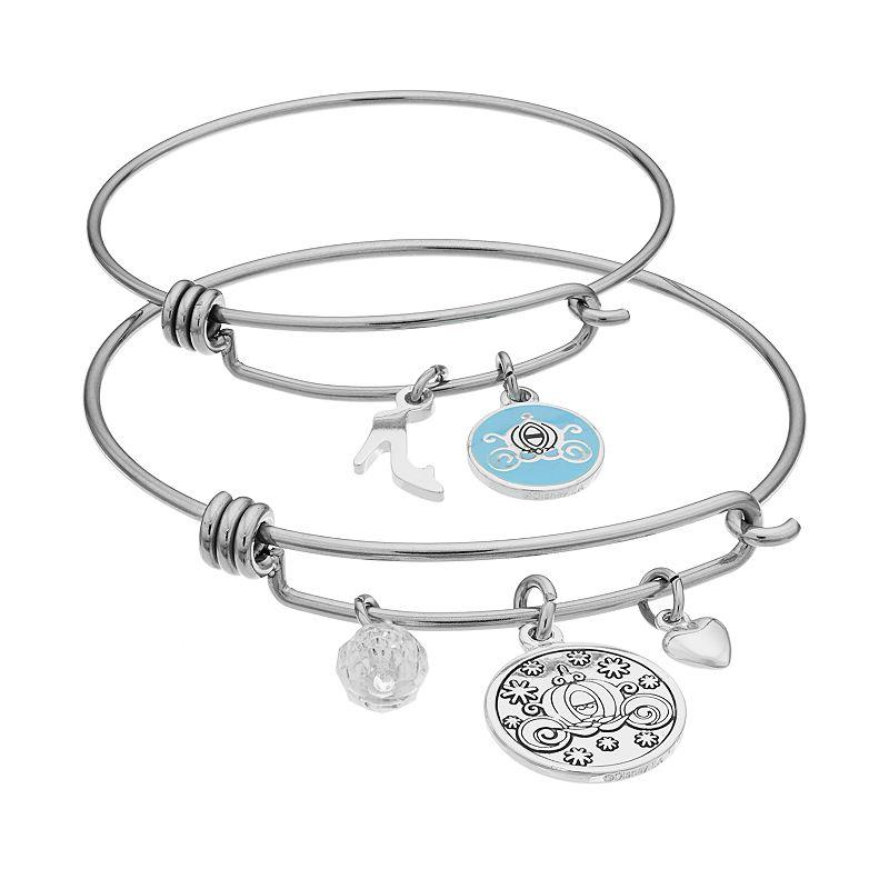 Disney's Cinderella Crystal Mother & Daughter Carriage Charm Bangle Bracelet Set
