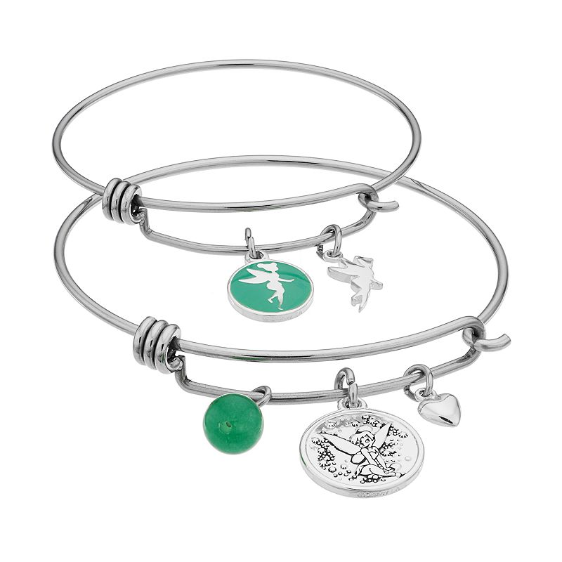 Disney's Tinker Bell Aventurine Mother & Daughter Charm Bangle Bracelet Set