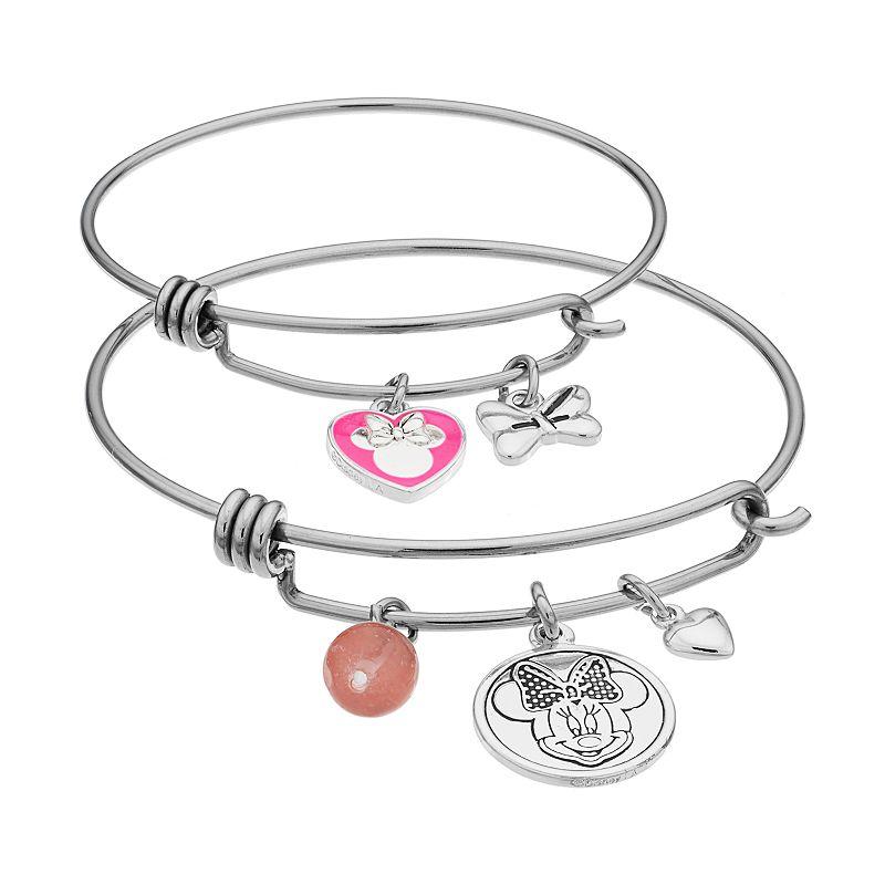Disney's Minnie Mouse Rose Quartz Mother & Daughter Charm Bangle Bracelet Set
