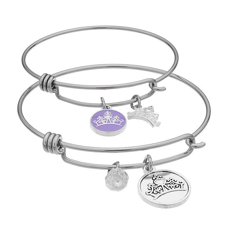 Disney Princess Crystal Mother & Daughter Crown Charm Bangle Bracelet Set