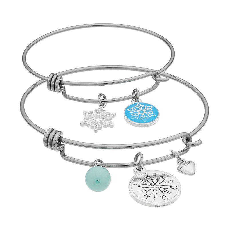 Disney's Frozen Amazonite Mother & Daughter Snowflake Charm Bangle Bracelet Set