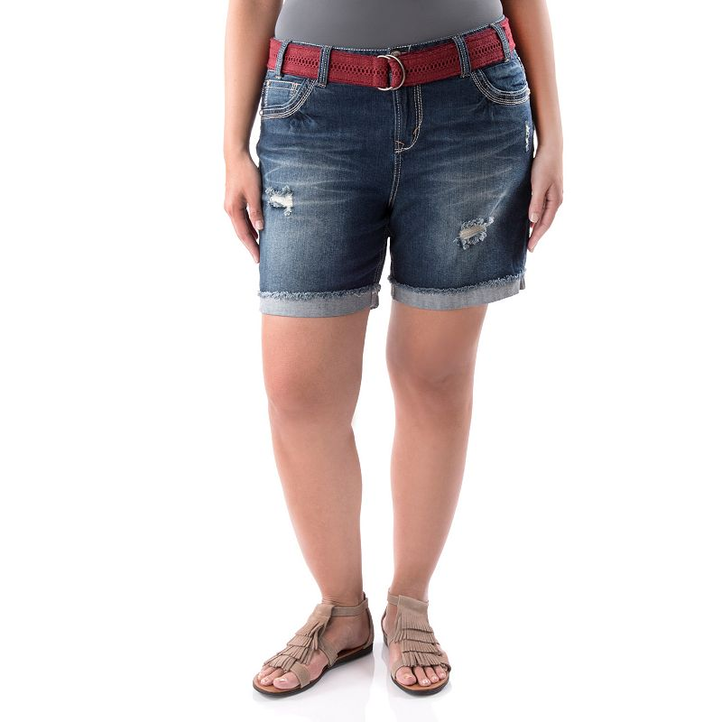 Juniors' Plus Size Wallflower Embroidered Bermuda Shorts