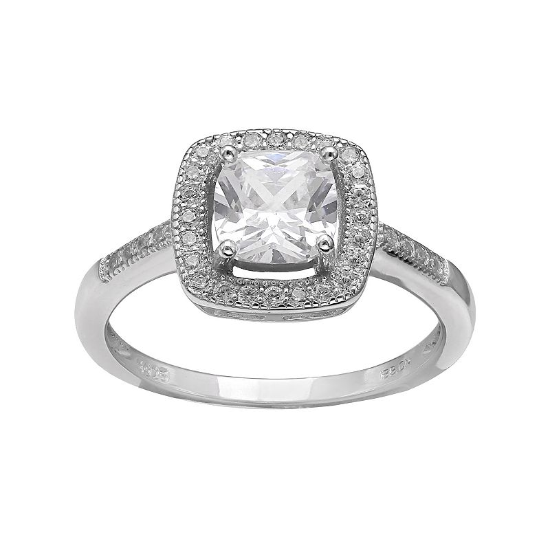 PRIMROSE Sterling Silver Cubic Zirconia Square Halo Ring
