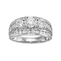 10k White Gold 2 Carat T.W. Diamond 3-Stone Multi Row Engagement Ring by