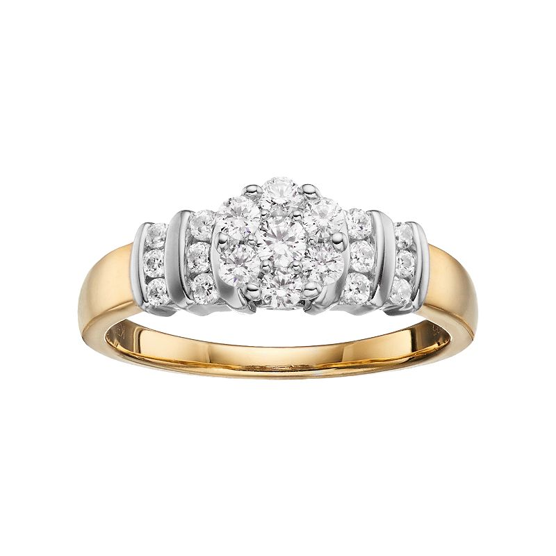 10k Gold 1/2 Carat T.W. Diamond Cluster Engagement Ring