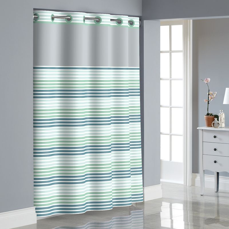 stripe shower curtain with liner blue hookless stripe shower curtain ...