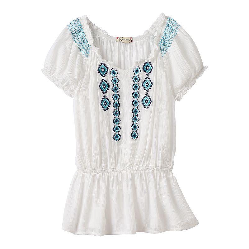 Girls 7-16 Speechless Embroidered Peplum Tunic